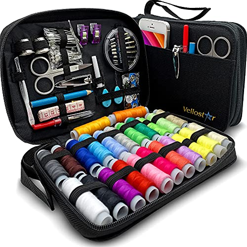 VelloStar Sewing KIT for Adults - Over 100 Easy to Use Sewing Supplies & 24-Color Threads, a Needle and Thread Kit for Small Fixes at Home & On The Go, Mini Travel Sewing Kit for Emergency Repairs