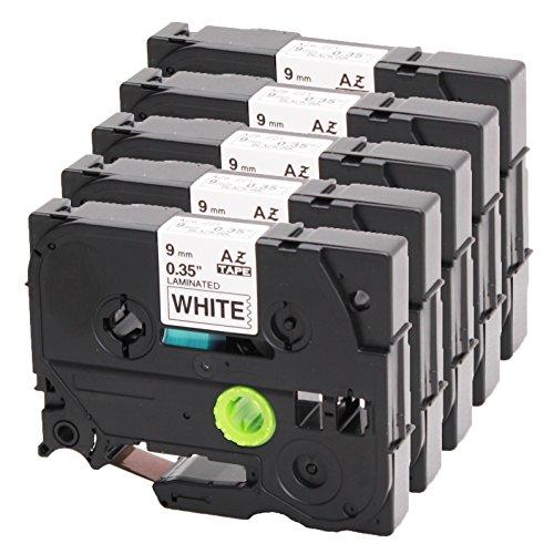 5x Schriftband ersetzt Brother TZe-221 schwarz auf weiß 9mm x 8m für P-Touch 1000W 1830 2730 D200 7100 2100 2030 1830 7600 VP 2430 1230 9700 PC 1090 2470 1290 1010 1080 1830 E100 P700 H75S H105