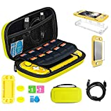 TSBEAU Protective Nintendo Switch Lite Carrying Case With Card Slots, TPU Case Cover, PU Hard Case Cover, Tempered Glass Screen Protector, USB Cable, Thumb Stick Caps & Accessories, Yellow