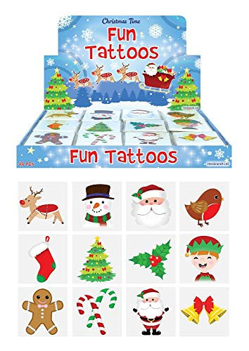 geo-versand Kinder 36 Weihnachts Tattoos Adventskalender Schule Kindergarten Tattoo, Mehrfarbig, 4 cm x 4 cm x 0,01