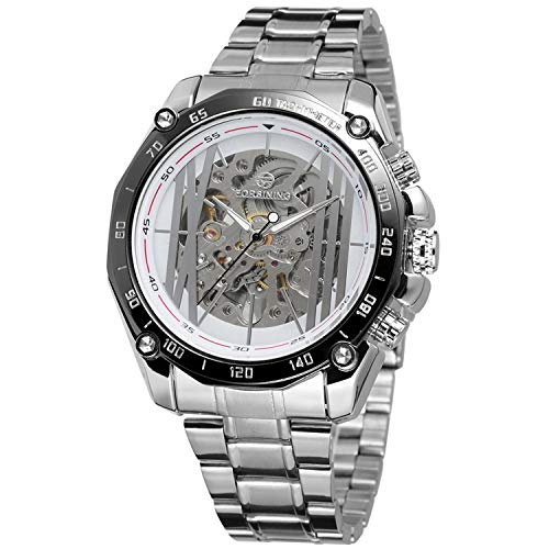 Forsining Vogue Stainless Steel Bracelet Men Hollow Watch Analog Display