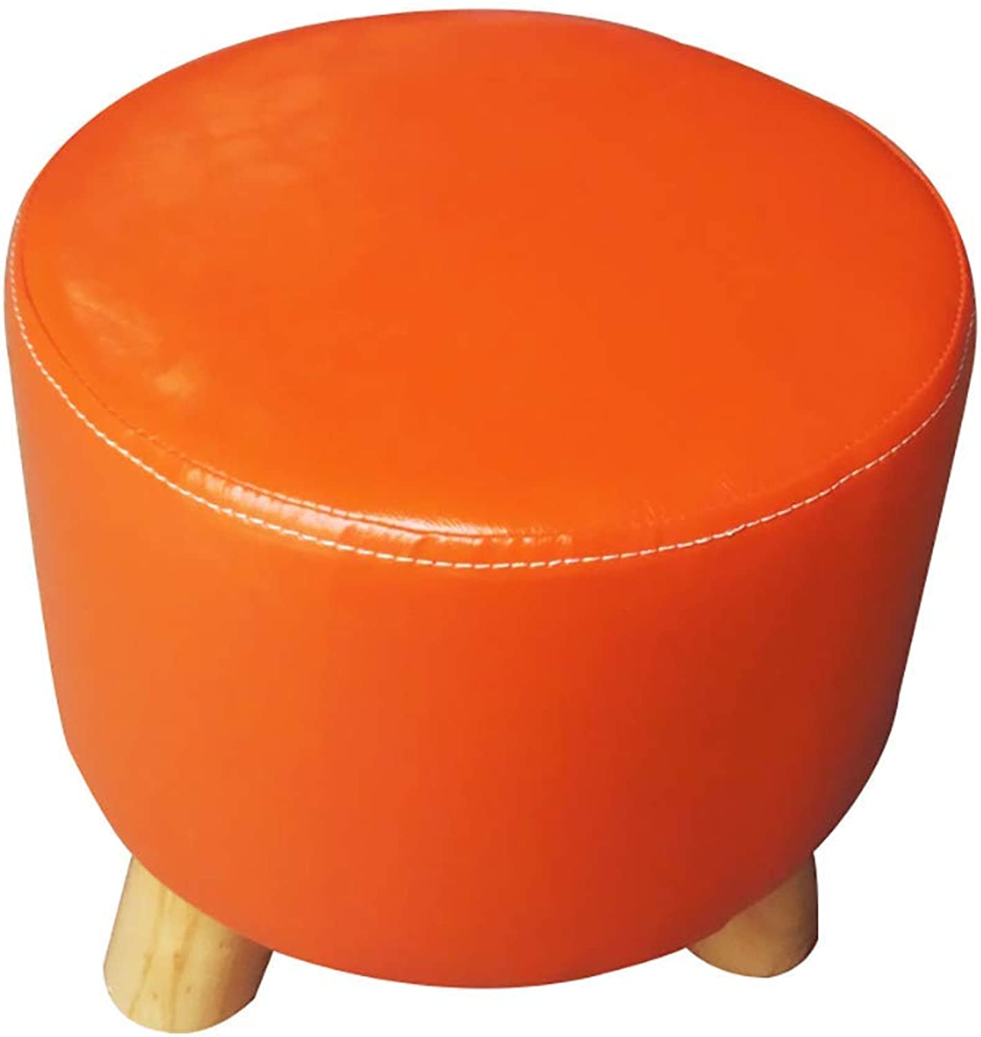 ChenDz Cute Stool Simple Modern Home Change shoes Stool Coffee Table Solid Wood Stool Dressing Room Small pier Living Room PU Leather Sofa Stool (color   orange)