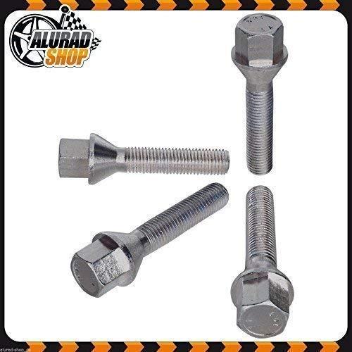 Haskyy 10 Radschrauben Radbolzen Silber verzinkt Kegelbund Kegel M14x1,5 in verschiedenen Schaftlängen zur Auswahl (43mm)