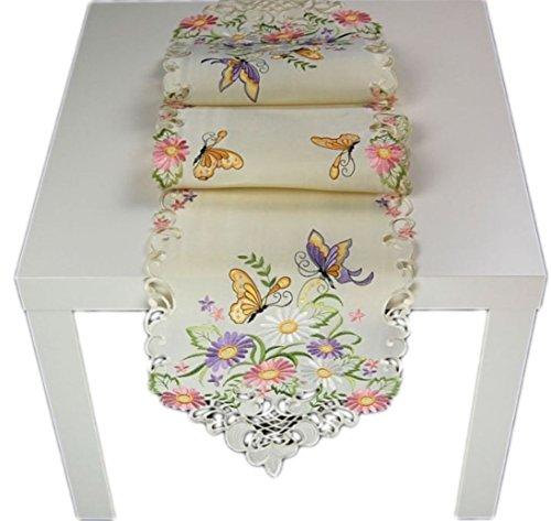 Tischdecke 30x160 cm mit Spitze Creme Schmetterlinge Bestickt Tischläufer Dekoband Frühling Sommer (Tischband 30x160 cm spitzoval)