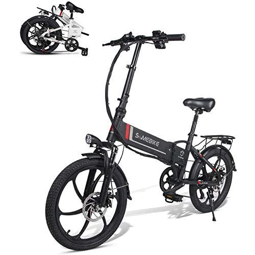 HWOEK Zusammenklappbares Elektrofahrrad, 350W Motor 20 Zoll Erwachsene City-E-Bike 48V 10.4Ah Herausnehmbarer Akku 7-Gang Getriebe,Schwarz