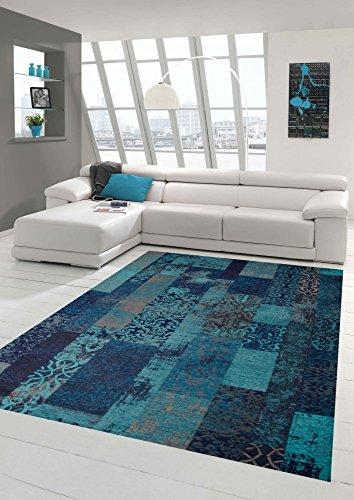 Tapis Contemporain Design Oriental Salon Motif à Carreaux en Bleu Turquoise Taille 120 x 170 cm