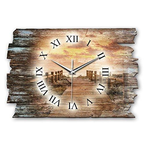 Kreative Feder Steg Sonnenuntergang Shabby Style Designer Wanduhr Funkuhr aus Holz *Made in Germany leise ohne Ticken WH019F (leises Funkuhrwerk)