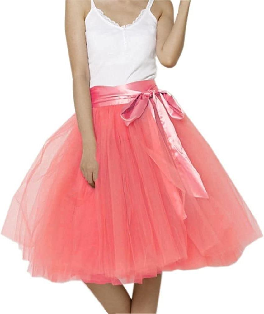 Women's XL Long Skirt, A-line Short Skirt, Tulle Long Skirt, Tulle Wedding Dress, Tulle Dress (Color : Watermelon, Size : 5X-Large)