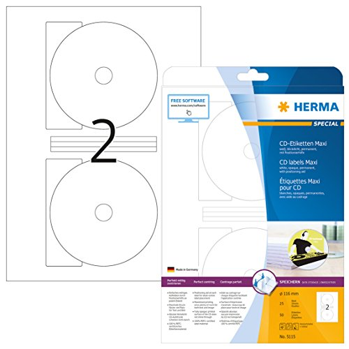 HERMA 5115 CD-/DVD-Etiketten inkl. Positionierhilfe DIN A4 blickdicht (Ø 116 mm MAXI, 25 Blatt, Papier, matt) selbstklebend, bedruckbar, permanent haftende CD-Aufkleber, 50 Klebeetiketten, weiß