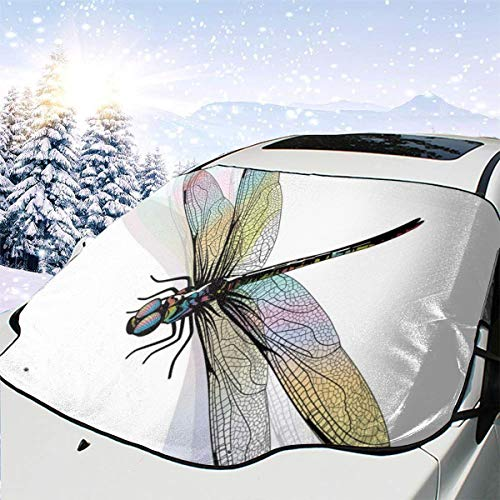 Preisvergleich Produktbild New Shorts Shady Dragonfly Pattern with Ornate Lace Style Ancient Beauty Wings Design Car Front Windshield Cover Foldable Sunshade Fits Most Cars,  Trucks,  SUVs