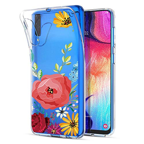 unknow Galaxy A50 Hülle - Hochwertig Anti-Gelb Weiche Silikonhülle für Galaxy A50 - Blumen Muster TPU Schutzhülle Case Cover für Samsung Galaxy A50-17