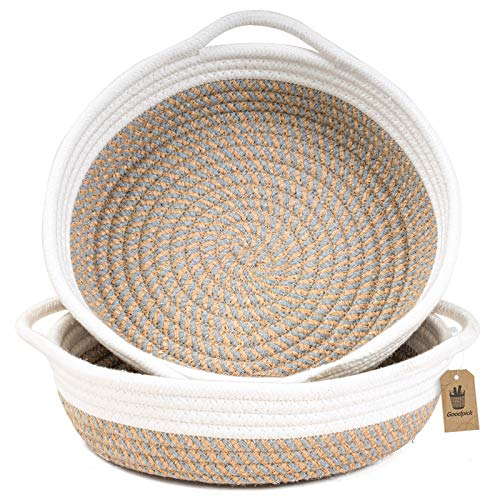 Goodpick 2pack Small Basket - 9.8 x 8.7 x 2.8 inches Cotton Rope Woven Basket for Keys, Sunglasses, Wallet by Front Door - Cute Basket for Phone on Nightstand - Fruit Basket on Kitchen Counter