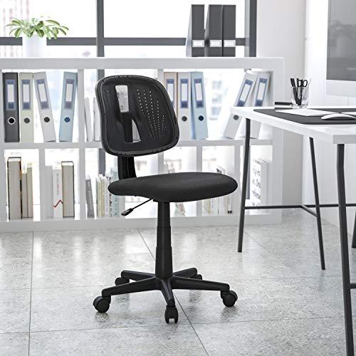 Flash Furniture Flash Fundamentals Mid-Back Black Mesh Swivel Task Office Chair with Pivot Back