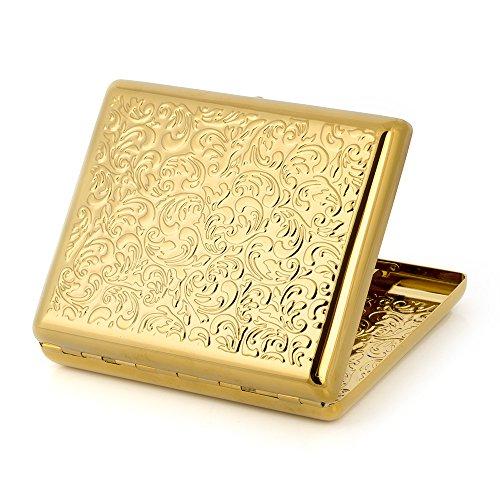 Portasigarette goffrato in rame puro e metallo, motivo arabesco, per sigarette 100s Gold