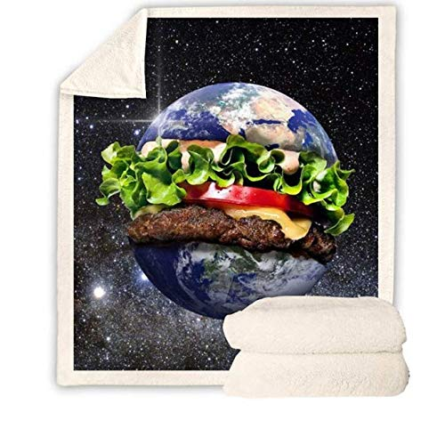 DJSK Burger 3D Print Sherpa Blanket Galaxy Manta de Colcha Lavable Office Airplane Bedding Manta de Cuatro Estaciones 150 * 200CM