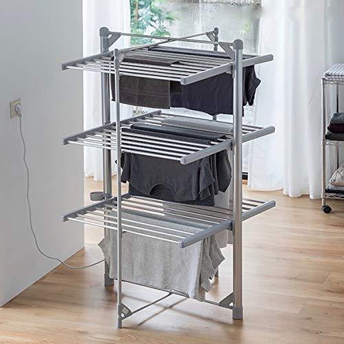 MODEZVOUS - Séchoir Electrique Chauffant - Etendoir pour Linge - Acier Inoxydable - Pliable - 3 Etages - 36 Barres - 300 Watts - Gris