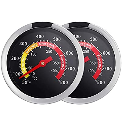 """ECENR 2 3/8"""" Charcoal Grill Smoker Temperature Gauge Stainless Steel Pit, 2 Pack Grill Thermometer with Fahrenheit -50F to 800F"""