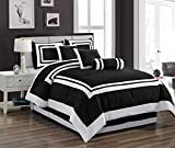 Chezmoi Collection 7 Pieces Caprice Black/White Square Pattern Hotel Bedding Comforter Set (Queen, Black/White)