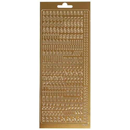 Rayher 30181616 Klebeschrift abc..., 10x24,5 cm,1Bogen, gold, Alphabet Kleinbuchstabe
