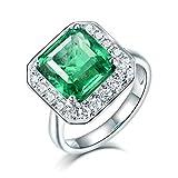 Beydodo Anillo Compromiso Mujer,Anillos de Oro Blanco Mujer 18 K Plata Verde Cuadrado Esmeralda Verde 2ct Diamante 0.4ct Talla 9,5(Circuferencia 49MM)