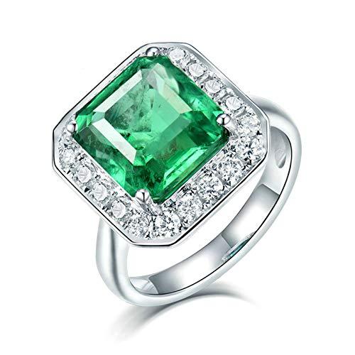 Daesar Anillos de Oro Blanco Mujer 18 K,Cuadrado Esmeralda Verde 2ct Diamante 0.4ct,Plata Verde Talla 20