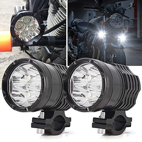 Biqing 2Pcs Phares Avant de Moto,U7 Phares suppl/émentaires pour moto 12V//24V Feux Antibrouillard LED 6000K avec interrupteur pour Quad Scooter Moto Blanc