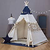 Kids Teepee Tent with Mat, xiaowantong Printed Canvas Teepee for Girl Boy with Carry Bag, Portable Kids Playhouse for Indoor Outdoor (Top Blue)