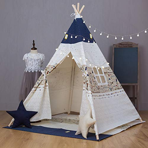 XWT Kids Teepee Tent with Mat, Printed Canvas Teepee for Girl Boy with Carry Bag, Portable Kids Playhouse for Indoor Outdoor (Top Blue)