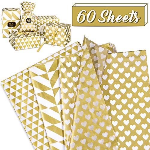 Whaline goldenes Seidenpapier, gefaltetes Geschenkpapier Valentinstag Geschenkpapier, mit Herz, Dreieck, Quadrat (60 Blatt, 20 Blatt je 3 Muster, 50 x 70 cm)