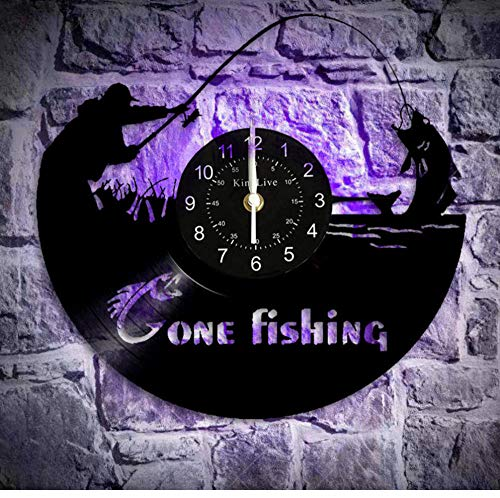 YIDAD Hollow 7 Color LED Light Gone Fishing Vinyl Wall Clock Handmade Vintage Vinyl Record Clock for Fishing Lovers Men Gifts Gifts Dad Decorations