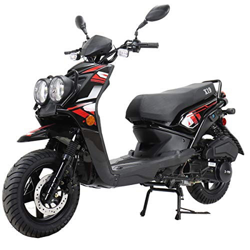 X-PRO X19 Moped Scooter Street Scooter Gas Moped 150cc Adult Scooter Bike with 12' Aluminum Wheels! (Black)