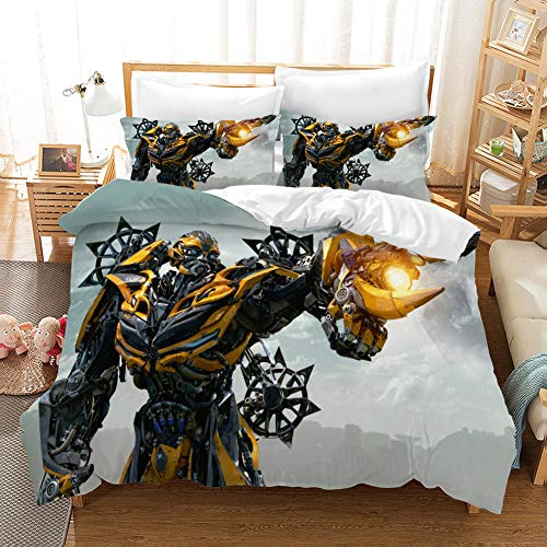 Suokyt Transformers Bedding Twin Kids Boys Bumblebees Bedding Set Duvet Cover Transformers 2piece Bed Set Bedding Cover Bedspreads Twin