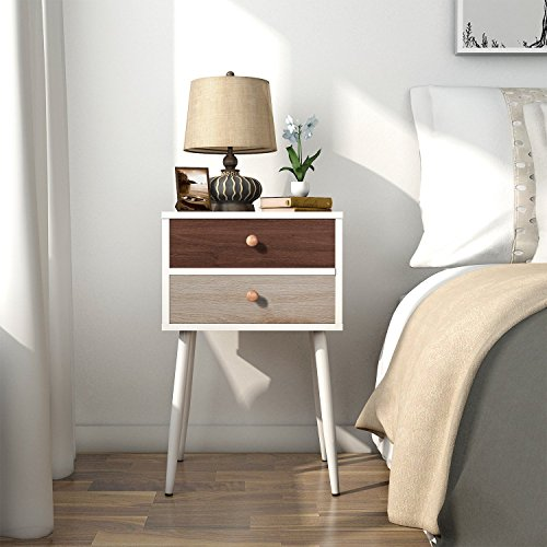 Lifewit White Nightstand with 2 Fabric Drawers, Bedside Table Bedroom Side Table, Modern Accent Table, Sturdy and Easy Assembly, 15.7 × 11.7 × 24.4 in