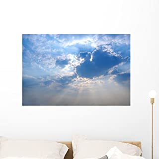 Wallmonkeys Sun Rays from Under Cloud Covering The Sun Blue Sky Background Wall Decal Peel and Stick Graphic WM332677 (36 in W x 24 in H)
