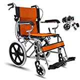 Wheelchair Medical Equipment Folding, Portable Transport Travel Chair with Seated,Suitable for Elderly,Driver Push Scooter Wide for Adults Elderly (Color : Orange)