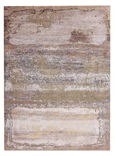 New Mark - Alfombra de seda y lana (170 x 240 cm), diseño abstracto gris