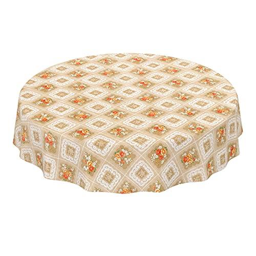 ANRO Tischdecke Wachstuch abwaschbar Wachstuchtischdecke Wachstischdecke Oma Style Gelb-Orange Rund 120cm