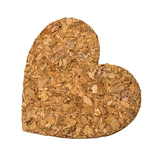 Mopec Coeur avec adhésif, liège, Marron, 3 x 6 x 5.5 cm, 18 pièces