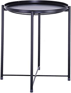 US Fast Shipment Quaanti Tray Metal End Table, Sofa Table Small Round Side Tables, Anti-Rust and Waterproof Outdoor & Indoor Snack Table, Accent Coffee Table,Multi-use Garden Patio Table (Black)