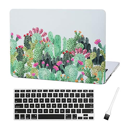 MacBook Pro 13 inch Case Cover A1502 A1425 Cactus Plastic Laptop Hard Shell Cover Sleeve Matte Rubberized (2012 2013 2014 2015 Release) with Silicone Keyboad Cover and Dust Brush (Cactus-Red Flower)