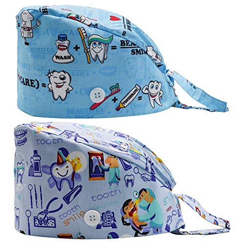 2PCS Fun Printed Working Hat with Buttons, Upgrade Breathable Lace Up Cotton Sweatband Cap Tie Back Hair Cover for Women Men (Tooth)