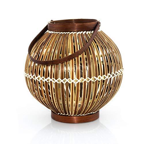BOURGH Laterne Bambus AGIRA - Natur Holz Windlicht, dunkelbraun, 26 cm hoch, mit Henkel, Kerzenhalter Windlicht Glas - Geeignet als Balkon Deko und für Garten, Terrasse und Wohnung