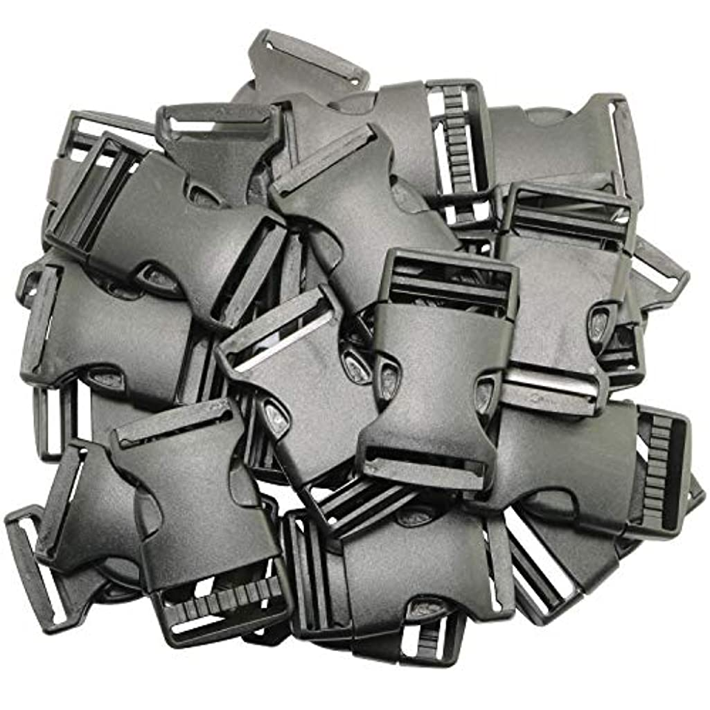 RuiLing 25-Pack 1 Inch Plastic Side Quick Release Buckle for Backpacks, Luggage, Dog Collar, Belts Black