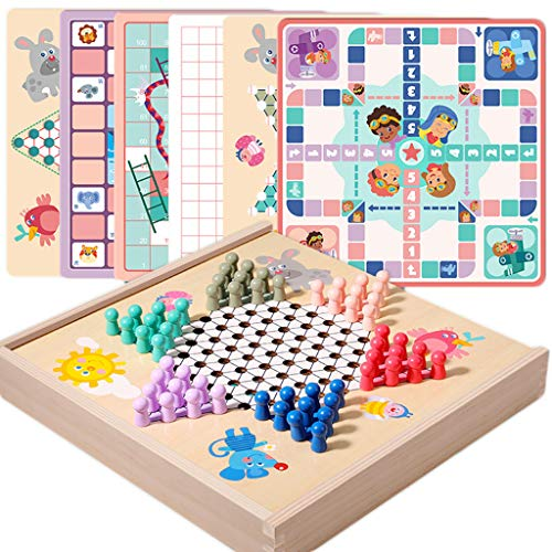 UEXCN Chinesisches Schachbrettchen aus Holz, klassisches Strategiespiel, Familienspiel, Spielzeug für Kinder