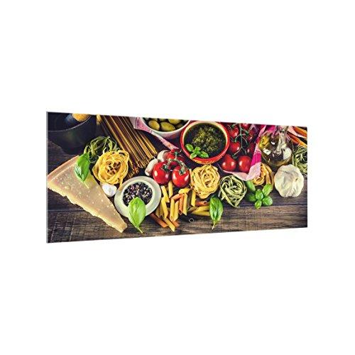 Bilderwelten Paraschizzi in Vetro - Pasta - Panoramico, Paraschizzi Cucina Pannello paraschizzi Cucina paraspruzzi per Piano Cottura Pannello per Parete Cucina, Misura (AxL): 40cm x 100cm