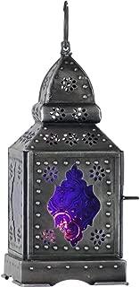4Rissa Temple Purple Glass Moroccan Boho Lantern Candle Holder Metal Hanging Decor