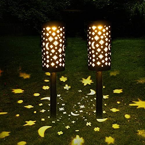 Clicked Luces solares Jardín, 2 Pcs IP44 LED al Aire Libre Lamparas solares Jardín Energía Solar Luces Jardín Luz Solar de Césped para Pasillo Césped Patio