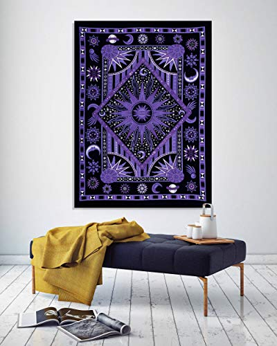 THE ART BOX Wandteppich, Hippie-Mandala mit Sonne, Mond und Planeten, Psychedelischer Wandteppich für Schlafzimmer