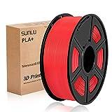 SUNLU Filamento de impresora 3D PLA Plus 1,75 mm 1 kg Carrete, PLA + Filamento rojo 1,75 +/- 0,02 mm...