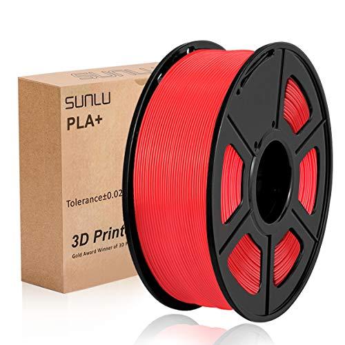SUNLU 3D Printer Filament PLA Plus, 1.75mm PLA Filament, 3D Printing Filament Low Odor, Dimensional Accuracy +/- 0.02 mm, 2.2 LBS (1KG) Spool 3D Filament, Red PLA+ …